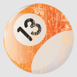 NUMBER 13 BILLIARDS BALL - AGED AND ERODED CLASSIC ROUND STICKER