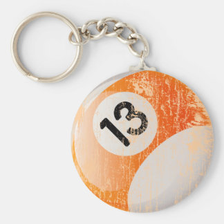 NUMBER 13 BILLIARDS BALL - AGED AND ERODED KEY RING