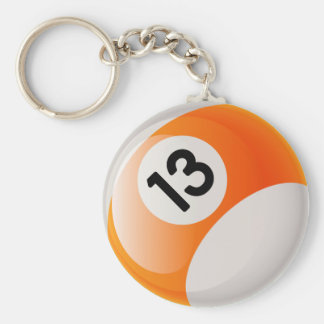NUMBER 13 BILLIARDS BALL BASIC ROUND BUTTON KEY RING
