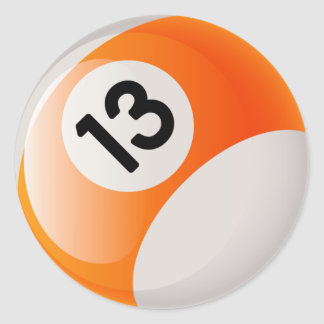 NUMBER 13 BILLIARDS BALL CLASSIC ROUND STICKER