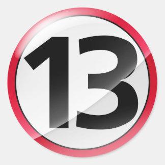 Number 13 red sticker