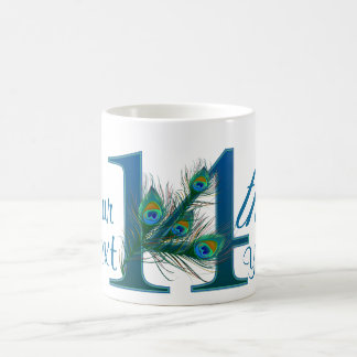 Number 14 / 14th 100% custom text design mug