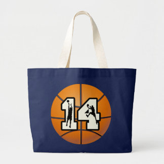 Number 14 Basketball and Players Large Tote Bag