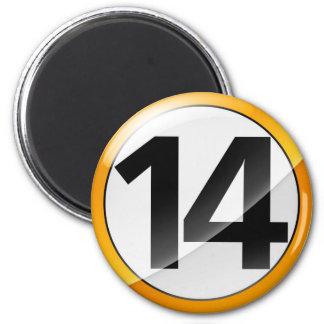 Number 14 gold Magent Magnet