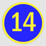 number 14 in a circle round sticker