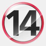 Number 14 red sticker