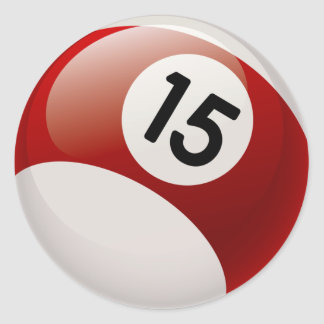 NUMBER 15 BILLARDS BALL CLASSIC ROUND STICKER