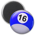 Number 16 Billiards Ball Magnet