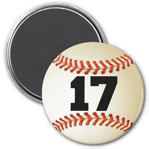 Number 17 Baseball 7.5 Cm Round Magnet