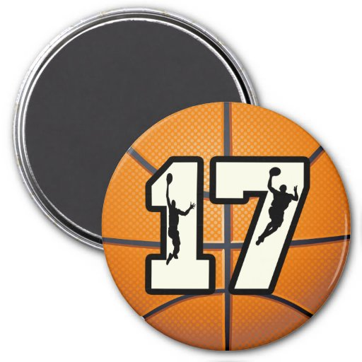 Number 17 Basketball and Players Refrigerator Magnet