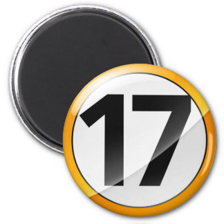Number 17 gold Magent 6 Cm Round Magnet