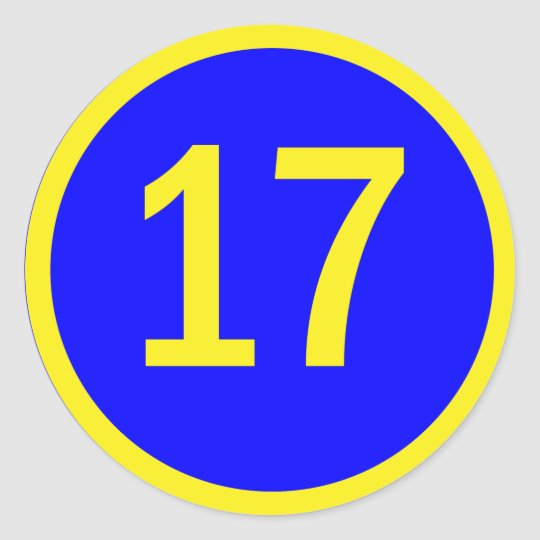 number 17 in a circle classic round sticker