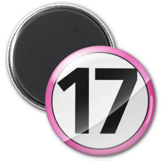 Number 17 pink Magent 6 Cm Round Magnet