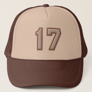 Number 17 with Cool Baseball Stitches Look Trucker Hat