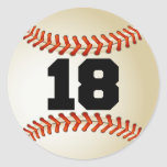 Number 18 Baseball Stickers