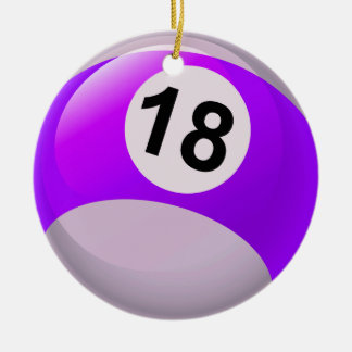Number 18 Billiards Ball Round Ceramic Decoration