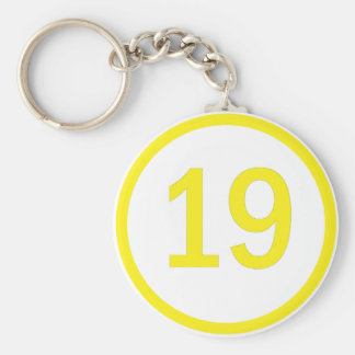 number 19 in a circle key ring