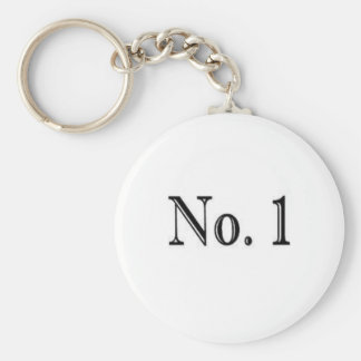 Number 1 basic round button key ring