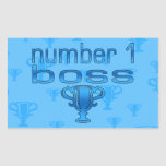 Number 1 Boss in Blue Rectangular Sticker