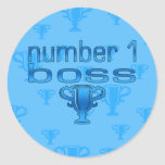 Number 1 Boss in Blue Round Sticker