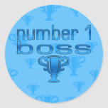 Number 1 Boss in Blue Round Stickers