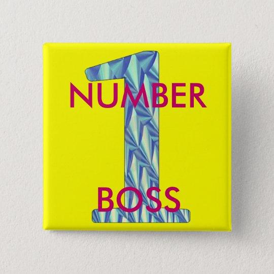 Number 1 Boss-Pin 15 Cm Square Badge