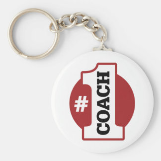 Number 1 Coach Basic Round Button Key Ring