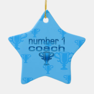 Number 1 Coach in Blue Christmas Ornaments