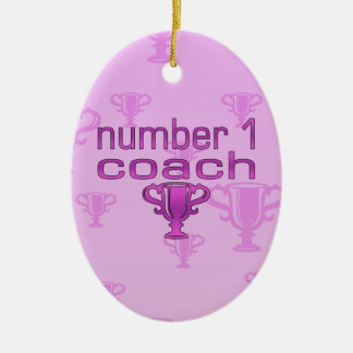 Number 1 Coach in Pink Christmas Tree Ornaments