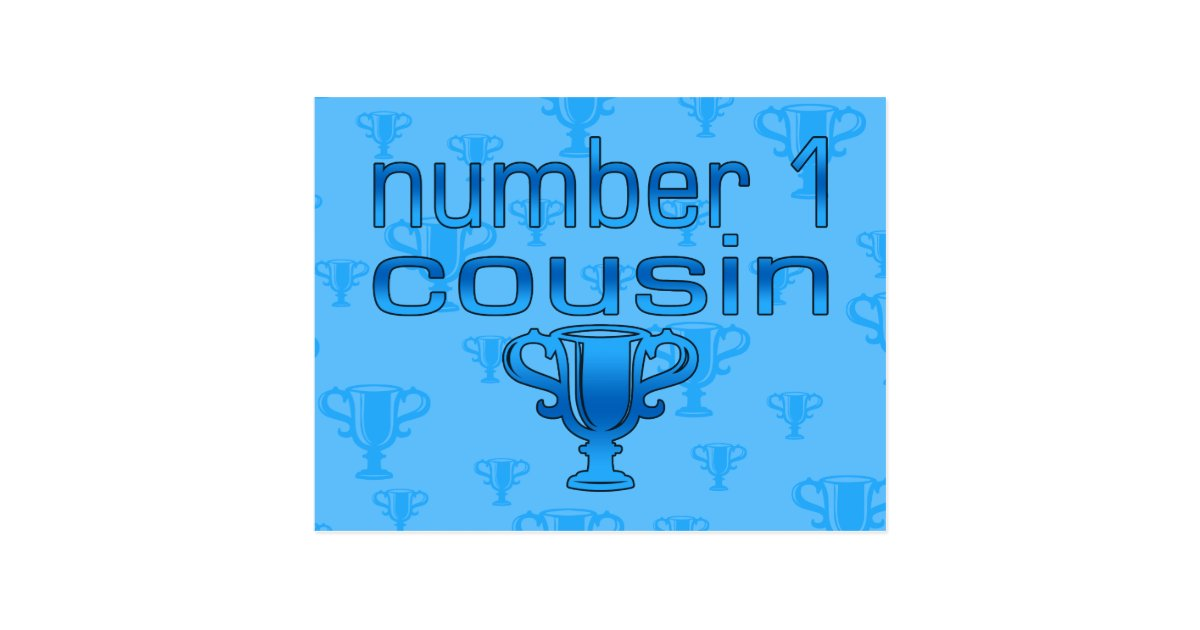 Number 1 Cousin in Blue Postcard | Zazzle