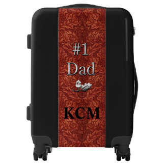 Number 1 Dad Faux Leather with Monogram Luggage