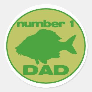 Number 1 Dad Fish Round Stickers