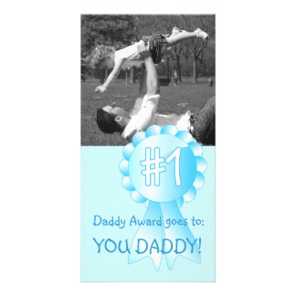Number 1 Daddy Award (Blue) Personalized Photo Card