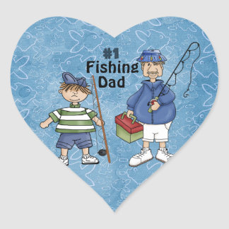 Number #1 Fishing Dad Heart Sticker