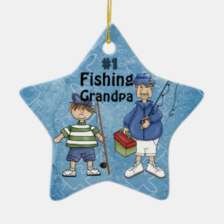 Number #1 Fishing Grandpa - 2 Sided Ceramic Star Decoration