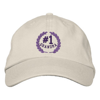 Number 1 Grandma All Star Laurels Embroidery Embroidered Baseball Caps