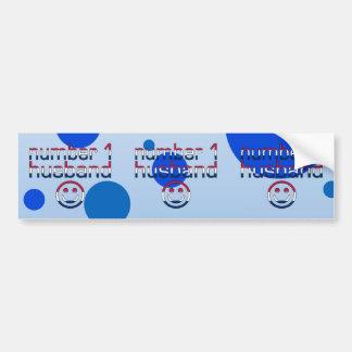 Number 1 Husband in American Flag Colors Car Bumper Sticker