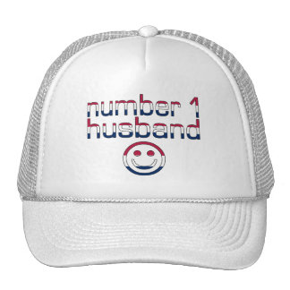 Number 1 Husband in American Flag Colors Mesh Hat