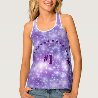 Number 1 Purple Star Womens PAO Racerback Tank Top