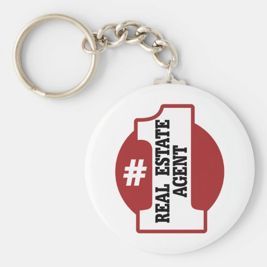 Number 1 Real Estate Agent Basic Round Button Key Ring