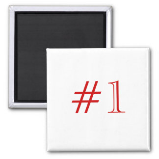 Number 1. Red and White. Custom Square Magnet