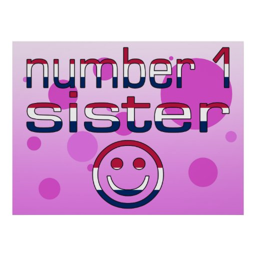 Number 1 Sister in American Flag Colors Posters