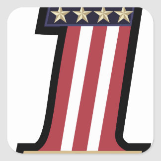 number 1 usa vintage flag and stars patch square sticker