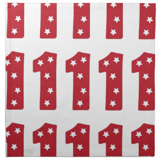 Number 1 - White Stars on Dark Red Printed Napkin