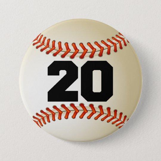 Number 20 Baseball 7.5 Cm Round Badge