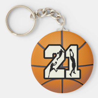 Number 21 Basketball Basic Round Button Key Ring