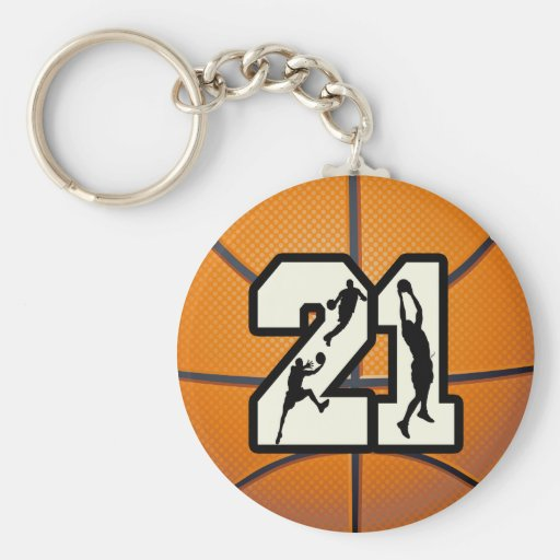 Number 21 Basketball Keychains