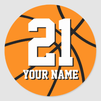 Number 21 basketball sticker Personalizable name
