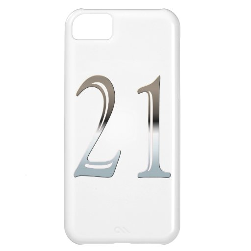 Number 21 Years Old Birthday Chrome Look iPhone 5C Covers