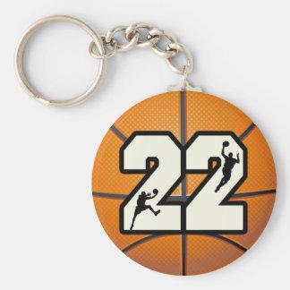 Number 22 Basketball Basic Round Button Key Ring